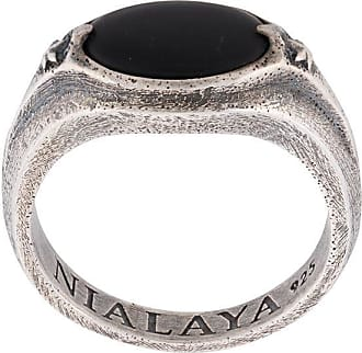 Nialaya engraved stone ring - SILVER