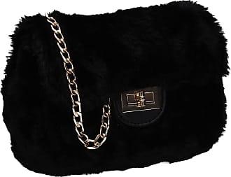 Swankyswans Carson Faux Fur Flapover Clutch Bag Black