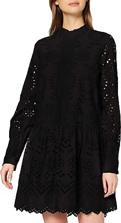 Vero Moda Womens Vmperfect Emb L/s Short Dress Sb2, Black, L