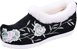 ICEGREY Womens Chinese Style Embroidered Mary Jane Shoes Fleece Loafers Black 8.5