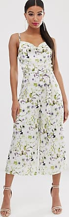 Missguided satin culotte jumpsuit with self belt in white floral print-Multi