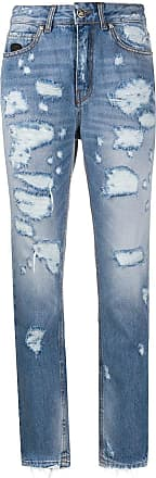 John Richmond Calça jeans cenoura com cintura alta - Azul