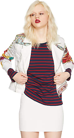 Desigual Womens Off-White Embroidered Marguerita Denim Jacket 36 UK 8