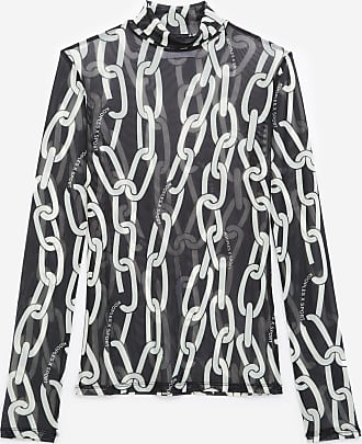 The Kooples Black and white T-shirt in mesh with motif - WOMEN