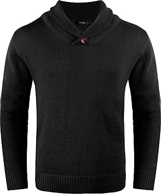 iClosam Mens Shawl Collar Jumper Fine Knit Cotton Pullover Sweater Winter Outwear Top Black