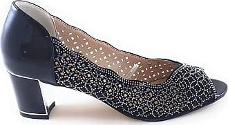 Lotus Attica Womens Peep Toe Court Shoes 7 Black/Diamante