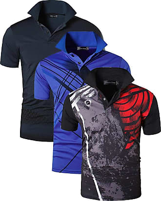 Jeansian Mens 3 Packs Quick Dry Sport Polo T-Shirt LSL195 MixPackD XL
