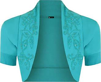 Momo & Ayat Fashions Momo Fashions-Ladies Short Sleeve Beaded Shrug Bolero Sizes 8-14 Turquoise