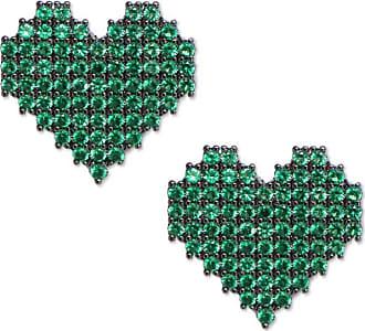 Renata Rancan Brinco Coração Cravejado com Micro Zircônias - Verde - Ródio Negro