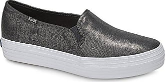 Keds Womens Triple Decker Metallic Linen Sneaker,Gunmetal,11 M US