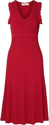 Michael Kors Ruffled Ribbed-knit Midi Dress - Red
