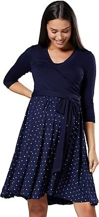 Happy Mama Womens Maternity Skater Dress 3/4 Sleeves 525p (Navy and Navy with Stars, UK 16/18, 2XL)