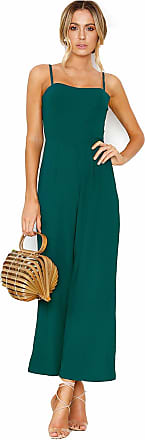 Vdual Women Fashion Sexy Spaghetti Strap Backless Jumpsuit Wide Leg High Waist Pants Rompers Green