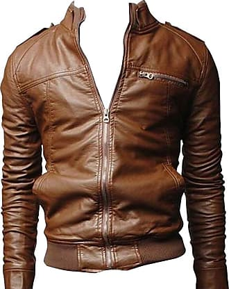 2d10a4c8fd LaoZan Men Stand Cut Collar Casual Biker Jacket Faux Leather Military Slim  Fit Zipped Coat Outerwear