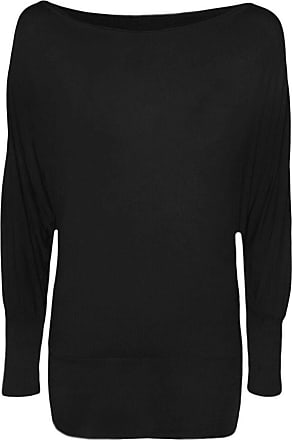 Top Fashion18 Ladies Plus Batwing Top Long Sleeves Off Shoulder Baggy Slouch Women Size 8-26 Black