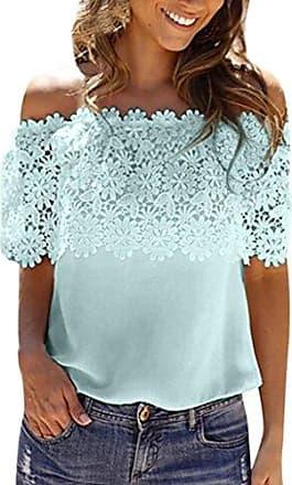 01c0e9cb39b6c1 TWIFER Damen Sommer Herbst Off Shoulder Tops Bluse Lace Crochet Chiffon  Shirt (2XL, Minzgrün