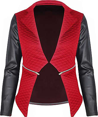 Be Jealous Ladies Quilted PVC Waterfall New Jacket Coat Full Sleeves Zip Womens Blazer Top L, UK 12 Red - Wetlook Full Sleeved Celeb Inspired Leather
