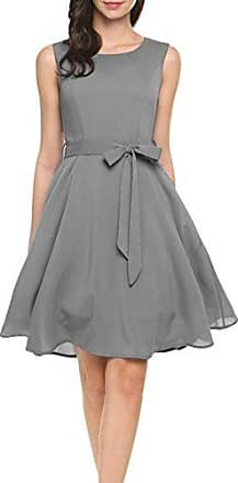 660895b3c63fa0 Zeagoo Damen Chiffonkleid Brautjungfernkleid Partykleid Hochzeit Kleid  A-Linie Kleider (S, Grau)
