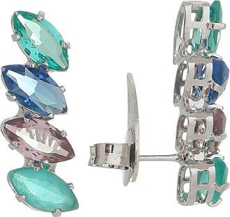 Renata Rancan Brinco Ear Cuff Cristais Coloridos e Banho em Ródio Branco - Azul Piscina, Verde Escuro, Azul Marinho e Marrom