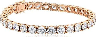 Amazon Collection Rose Gold Plated Sterling Silver Tennis Bracelet set with Round Cut Swarovski Zirconia, 8