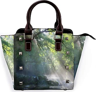 Browncin Rainforest Stream In The Jungle Stones Under Shadows Of Trees Sun Rays Mother Earth Theme Detachable Fashion Trend Ladies Handbag Shoulder Bag Messeng
