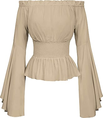 Belle Poque Victorian Steampunk Blouse Tops Off Shoulder Bell Sleeve Party Cosplay Show High Tea Shirt Khaki S