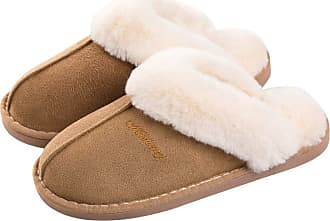 iClosam Men Slipper Memory Foam Fluffy Slip-on House Suede Fur Lined/Anti-Skid Sole Indoor & Outdoor Khaki