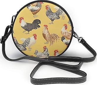 Turfed Art Chicken Painting Print Fashion Round PU Crossbody Handbag Round Shoulder Bag For Women Girls