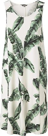 Tom Tailor Ärmelloses Jersey-Kleid in A-Linie, Damen, ecru tropical leaves design, Größe: 36