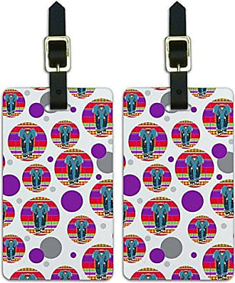 Graphics & More Graphics & More Luggage Suitcase Carry-on Id Tags-Geometric Animals-Indian Elephant Blue Red, White