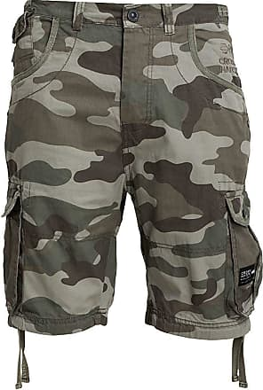 Crosshatch Mens ryehill Shorts, (Olive Camo), W36
