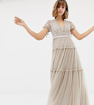 4475a3b9341 Needle   Thread embroidered tulle maxi dress with cap sleeve in rose - Pink