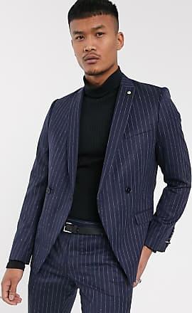 Twisted Tailor Giacca da abito blu navy gessato