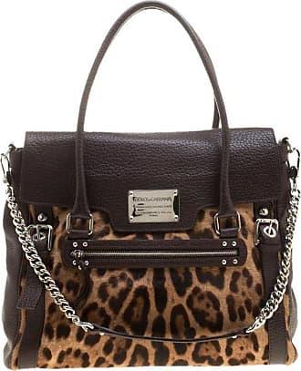 Dolce   Gabbana Dolce And Gabbana Dark Brown Leopard Print Leather And Calf  Hair Top Handle bfe39a51b2