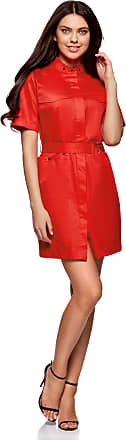 oodji Womens Shirt Dress with Pockets, Red, UK 4 / EU 34 / XXS