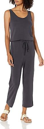 Daily Ritual Womens Rayon Spandex Fine Rib Wide-Leg Jumpsuit Brand