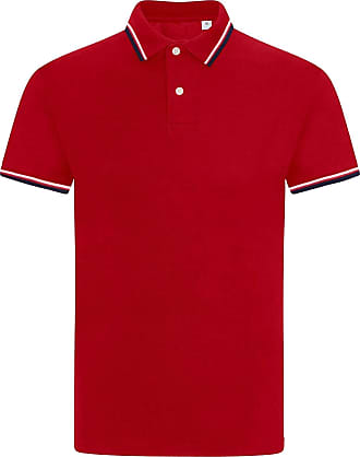 JD Williams Mens Plain Solid Polo Cotton T-Shirts Regular fit Casual Formal Shirt Top M-XXL [Red - Tipping Single, XL]