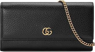 Gucci Carteira GG Marmont de couro com corrente - Preto