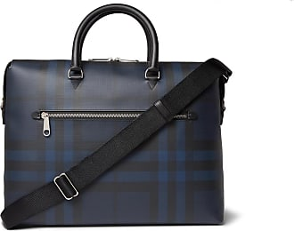 Burberry Checked Textured-leather Briefcase - Navy 341401531111a