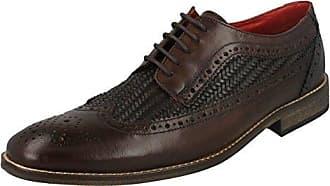 Base London Orion Herren Leder Schnurung Schuhe Oxford Brogue Braun