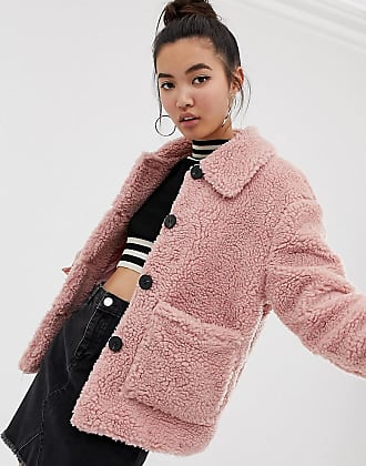 New Look teddy jacket with buttons in pink - Pink