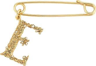 Oscar De La Renta E oversized safety pin brooch - GOLD