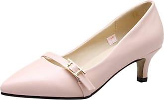 RAZAMAZA Women Simple Kitten Heel Court Shoes Slip On Pink Size 35 Asian