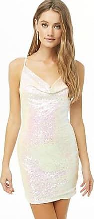 Forever 21 Forever 21 Iridescent Sequin Cowl Neck Dress White