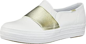 Keds Womens Triple Bandeau Leather Slip Ons White in Size UK 6.5 M