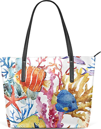 NaiiaN Leather Watercolor Ocean Fish Purse Shopping for Women Girls Ladies Student Shoulder Bags Light Weight Strap Tote Bag Mount Handbags