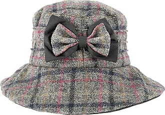 Dents Abraham Moon Ladies Checked Fabric Hat with Bow Detail Wax Brim Grey