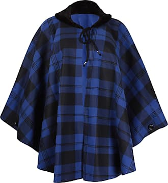Purple Hanger Womens Plus Size Check Print Ladies Faux Fur Fleece Collared Tie Poncho Cape Coat Royal Blue One Size