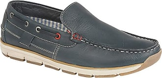 Roamers Superlight Mens Leather Slip On Apron Tab Moccasin Leisure Shoes (9 UK) (Navy Leather)