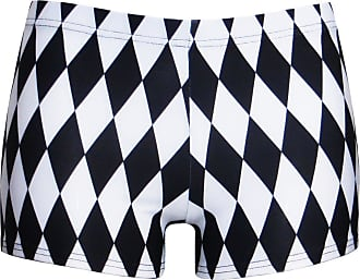 Insanity Monochrome Harlequin Diamonds Printed Shorts Hot Pants (S/M)